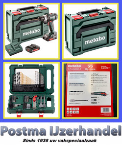 Actie!! Metabo BS18L accuboormachine 2.0 in Metabox met 55 delige bits/borenset